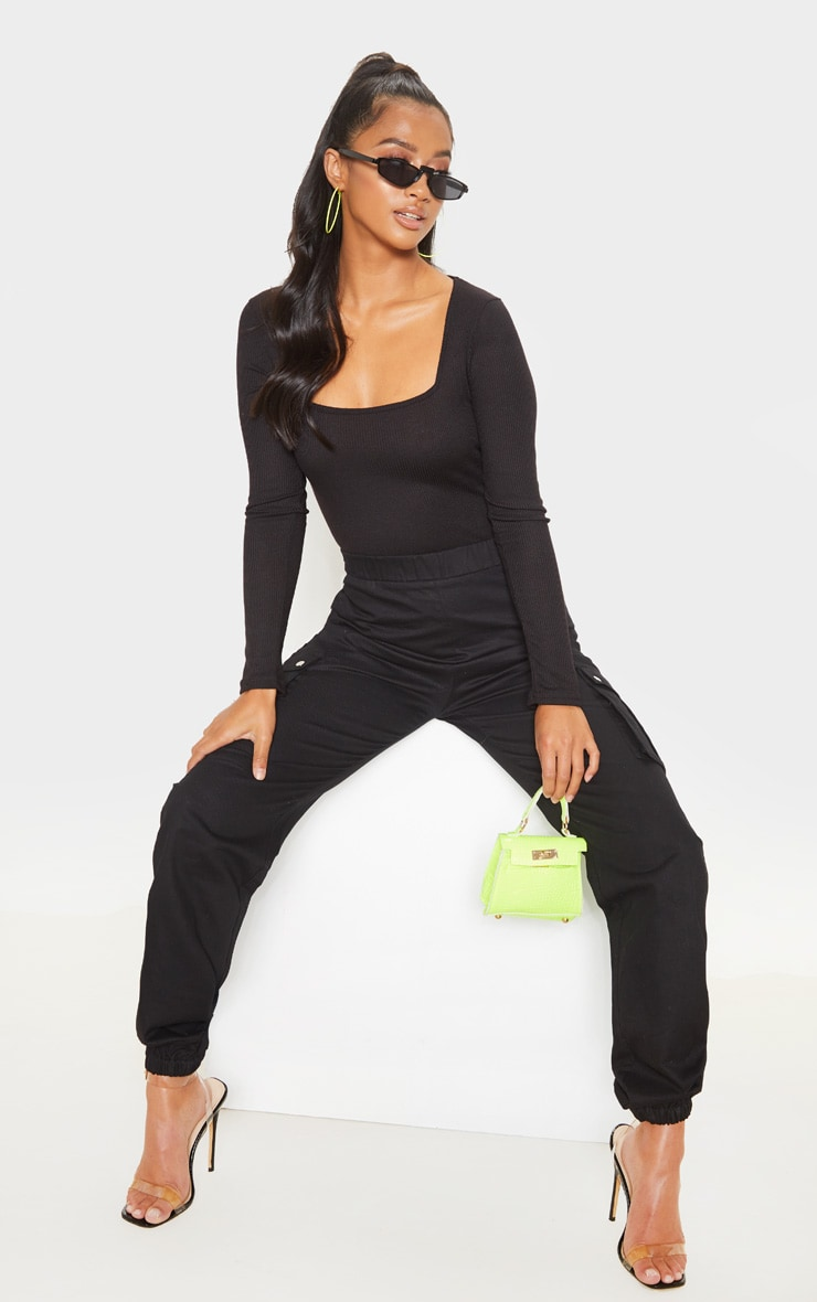 Petite Black Ribbed Square Neck Long Sleeve Bodysuit  5