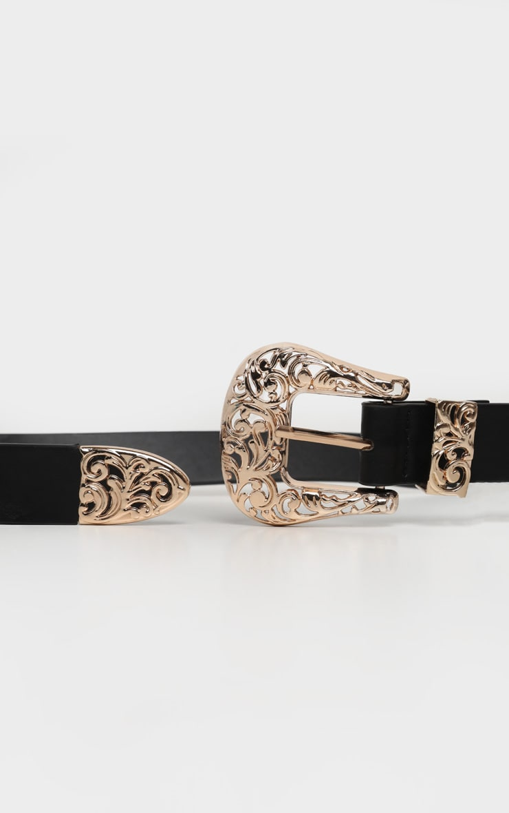 Gold Ornate Large Western Buckle Black PU Belt 2