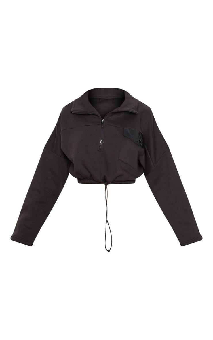 Black Pocket Zip Front Crop Sweater 3