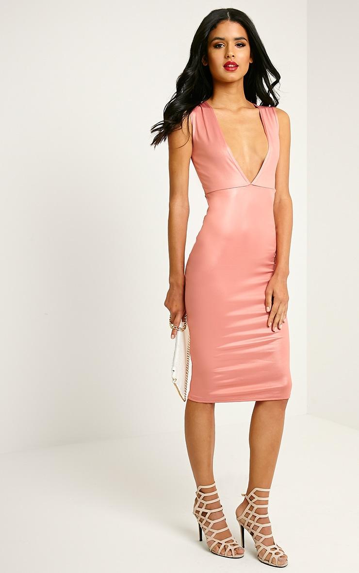 Lou Pink Shimmery Plunge Sleeveless Midi Dress 3