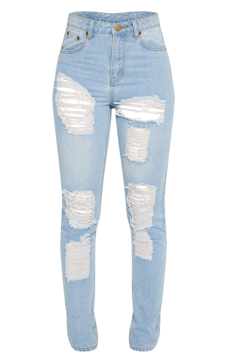 Tall Mid Wash Extreme Distressed Mom Jeans 3