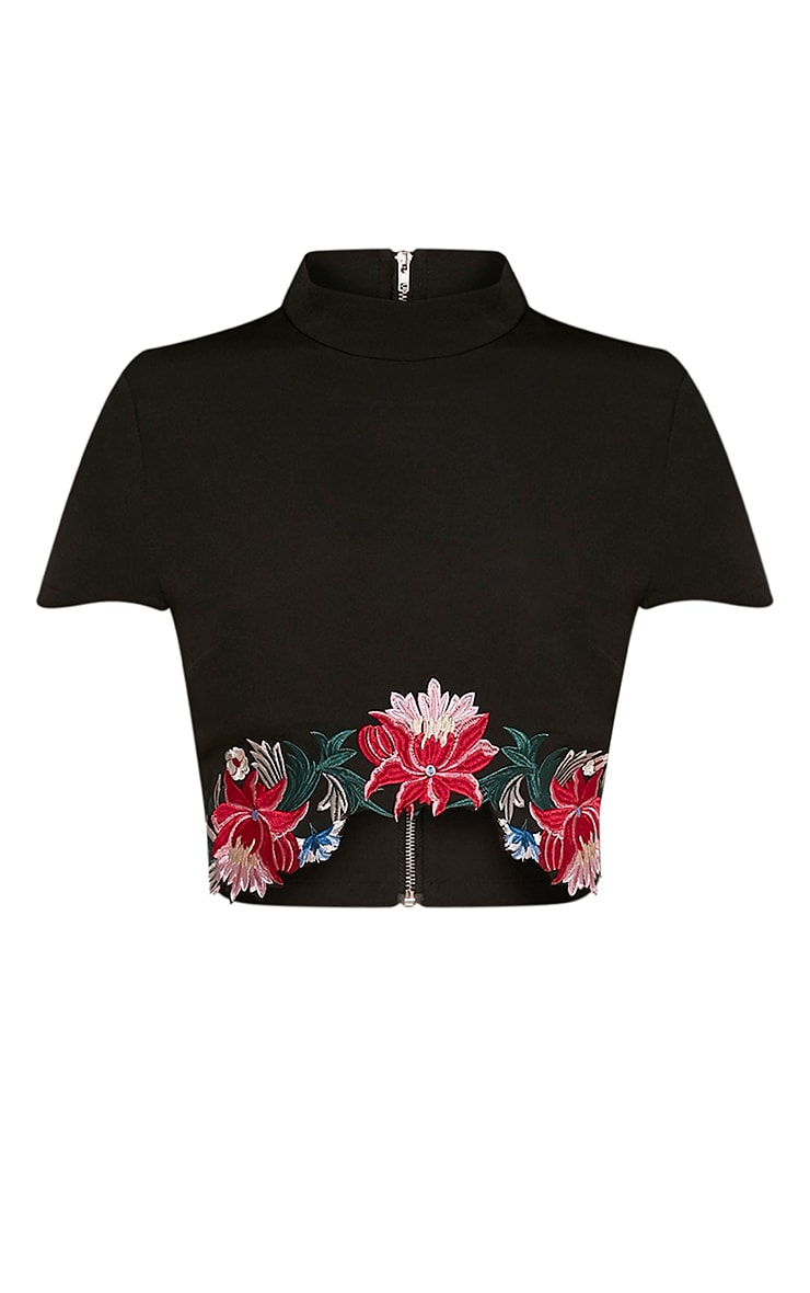 Charis Black Floral Embroidered Crop Top 3