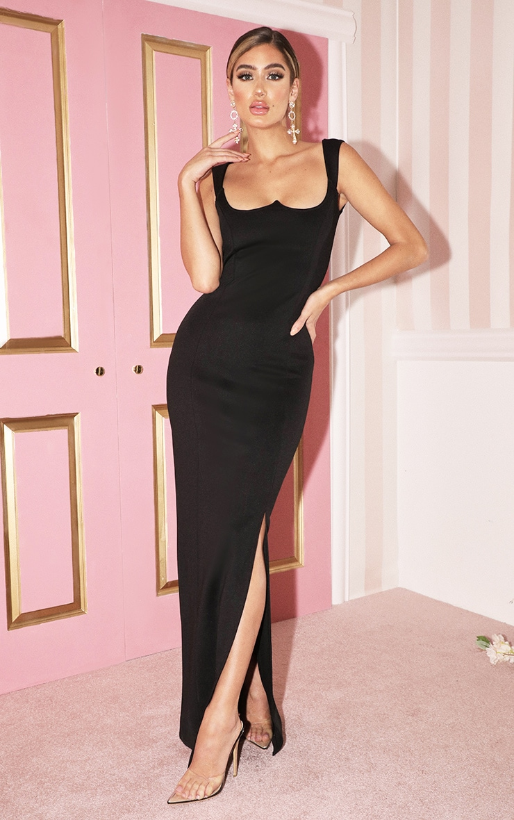 Black Structured Bodice Maxi Dress