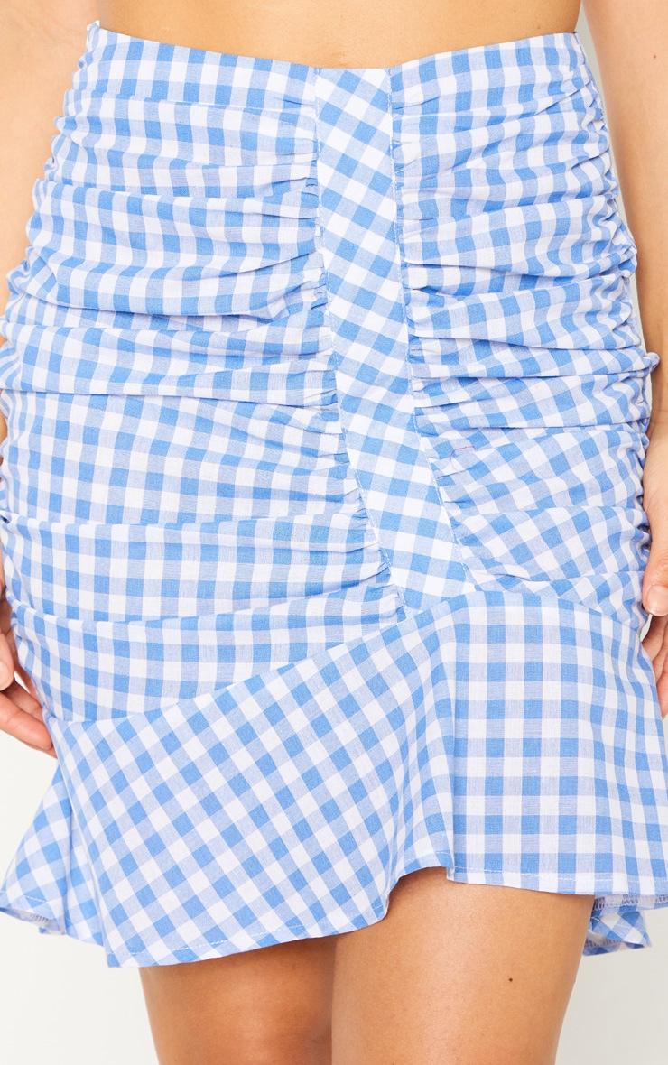 Light Blue Check Mini Skirt 6