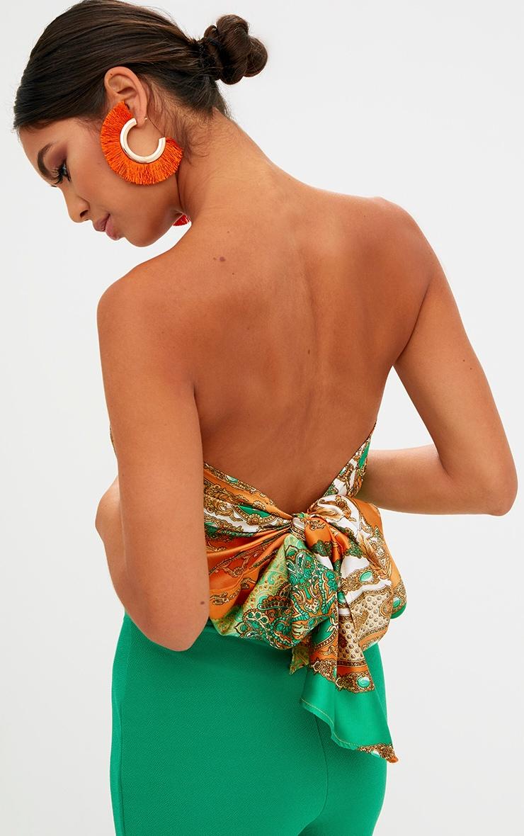Orange Scarf Print Tie Front Crop Top 2
