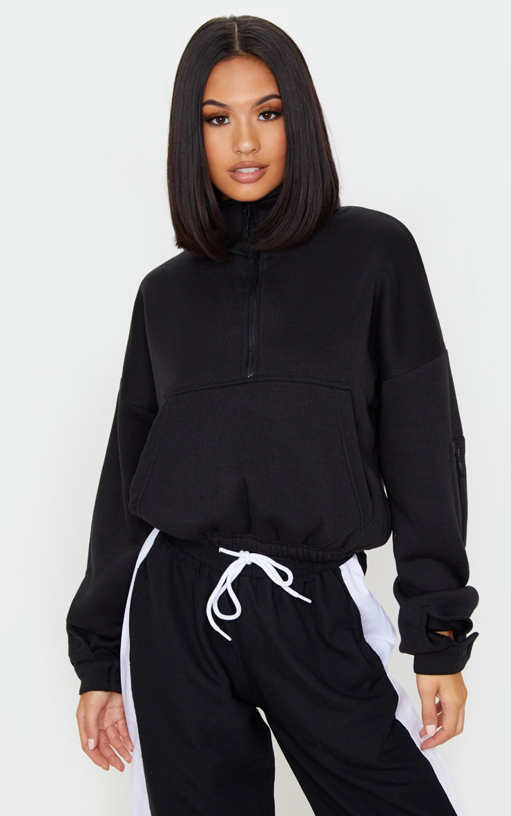 Black Oversized Zip Front Sweater 1