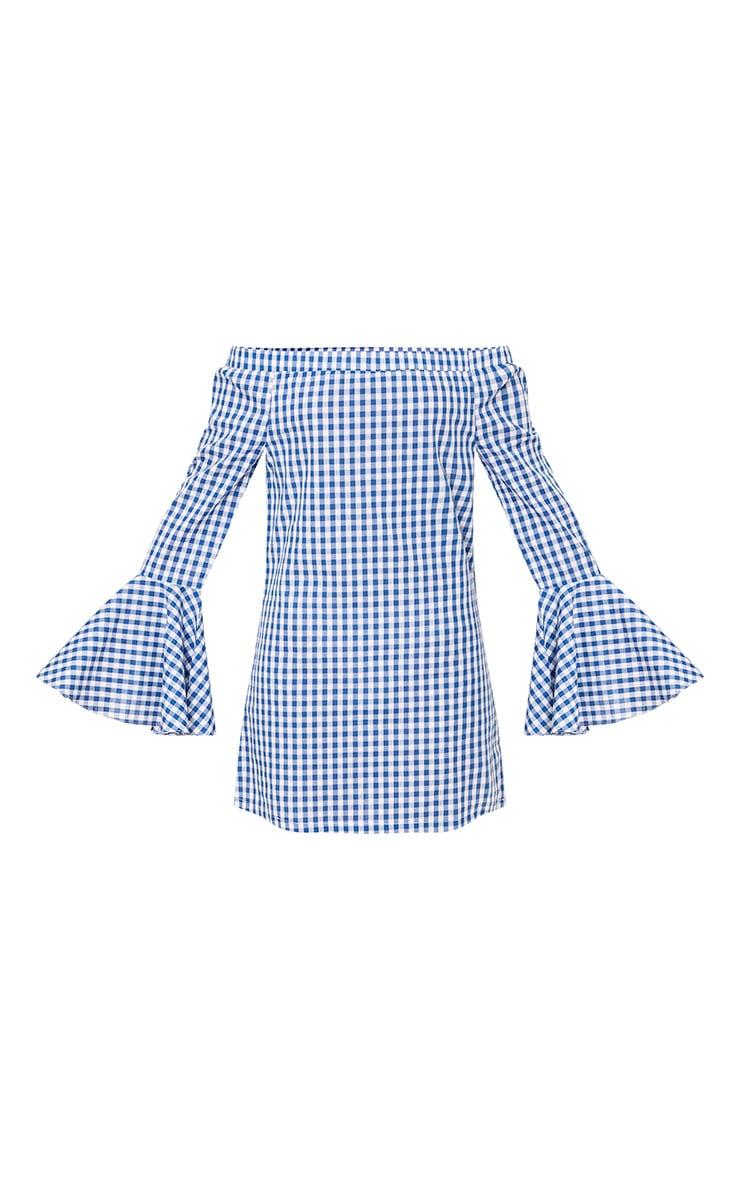 Isabeau Blue Gingham Bardot Flared Sleeve Shift Dress  3