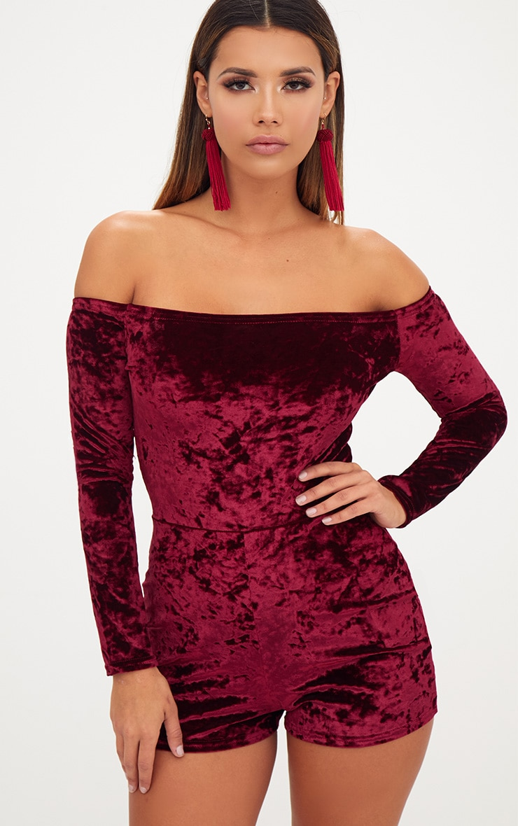 Burgundy Velvet Long Sleeve Bardot Playsuit  1