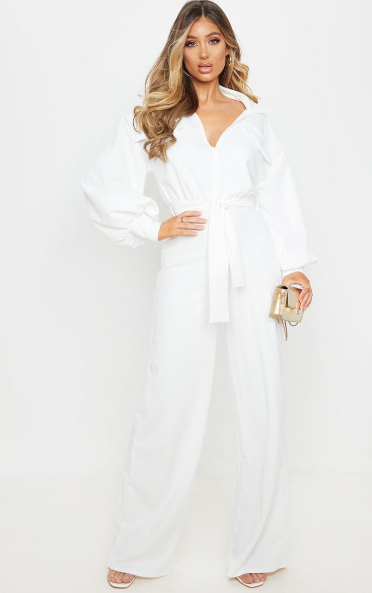 White Oversized Shirt Style Tie Waist Jumpsuit image 1