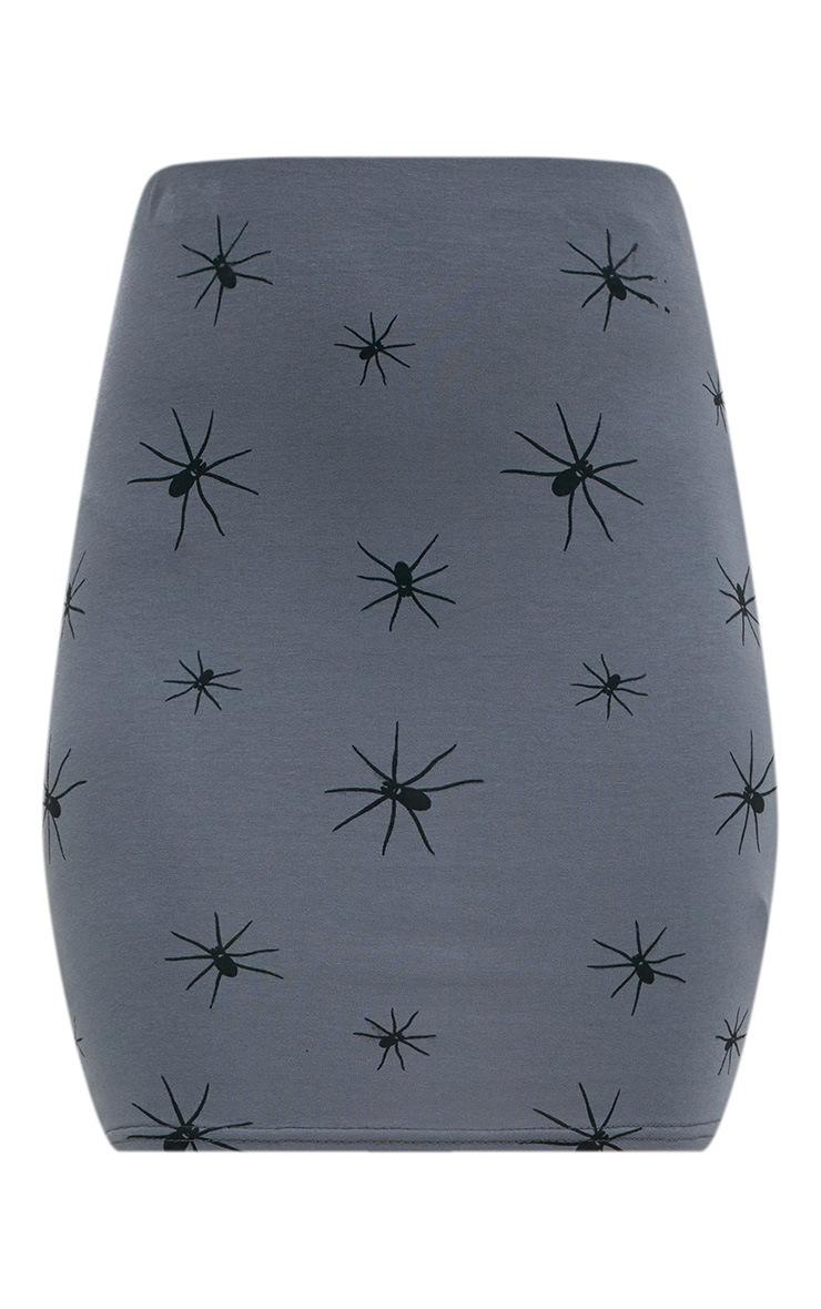 Grey Spider Print Mini Skirt  3
