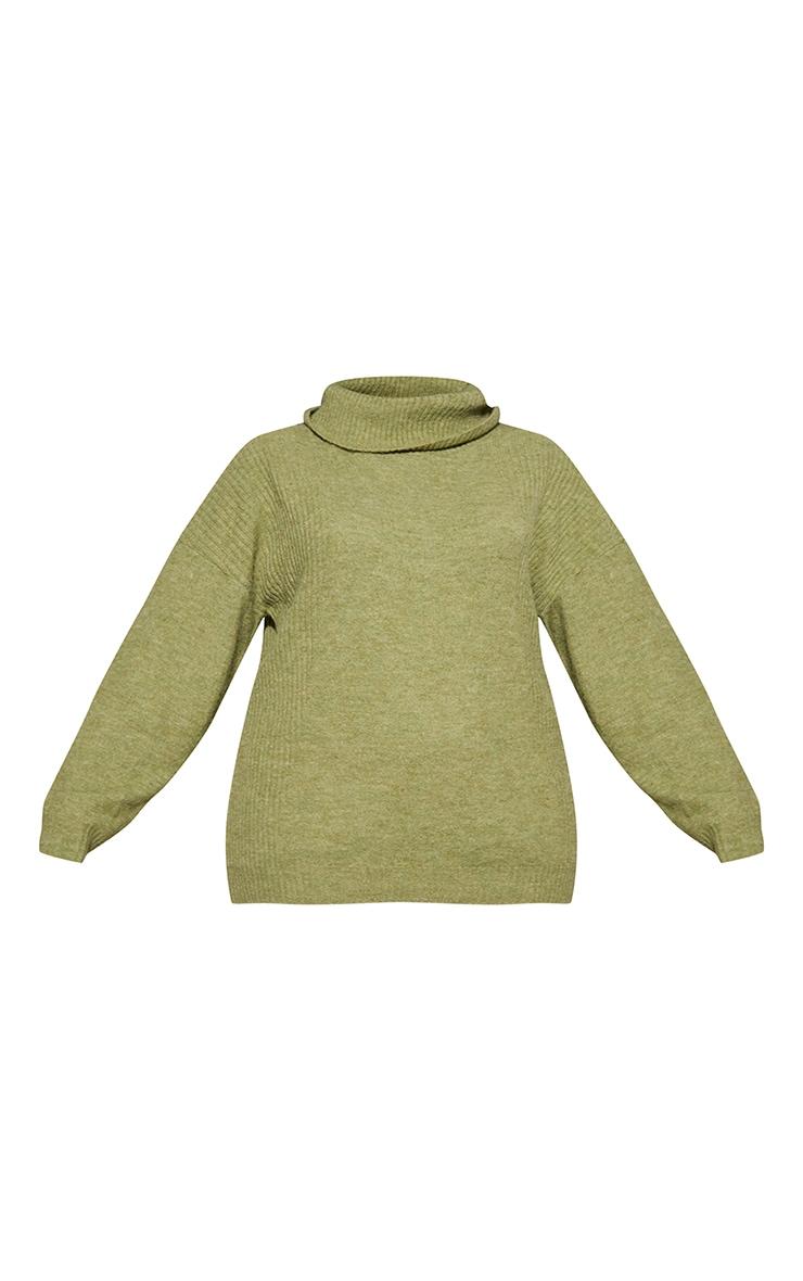PLT Renew Plus - Pull ample vert olive à col roulé 5