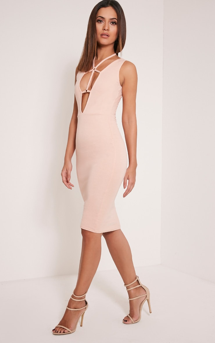 Raynie Nude Sleeveless Harness Midi Dress 4