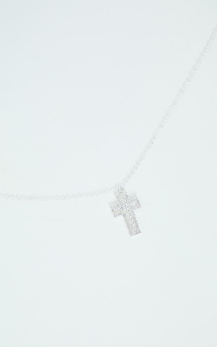 Silver Diamante Small Cross Necklace 3