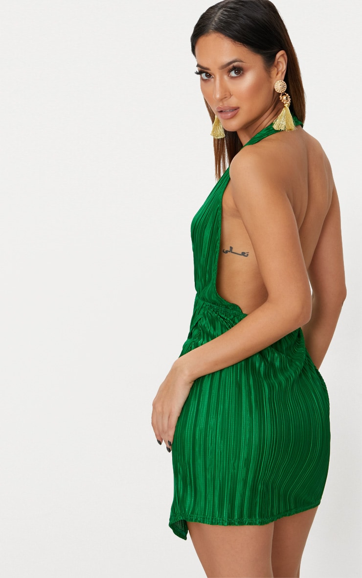 Bright Green Halterneck Extreme Split Detail Pleated Bodycon Dress 2