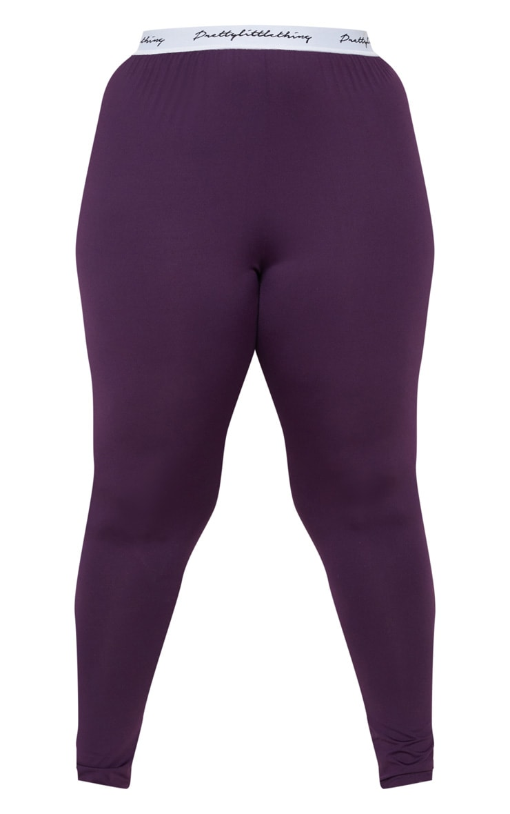 PRETTYLITTLETHING Plus Aubergine Elasticated Band Leggings 3
