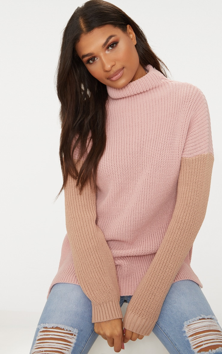 Nude High Neck Colour Block Oversized Jumper 1