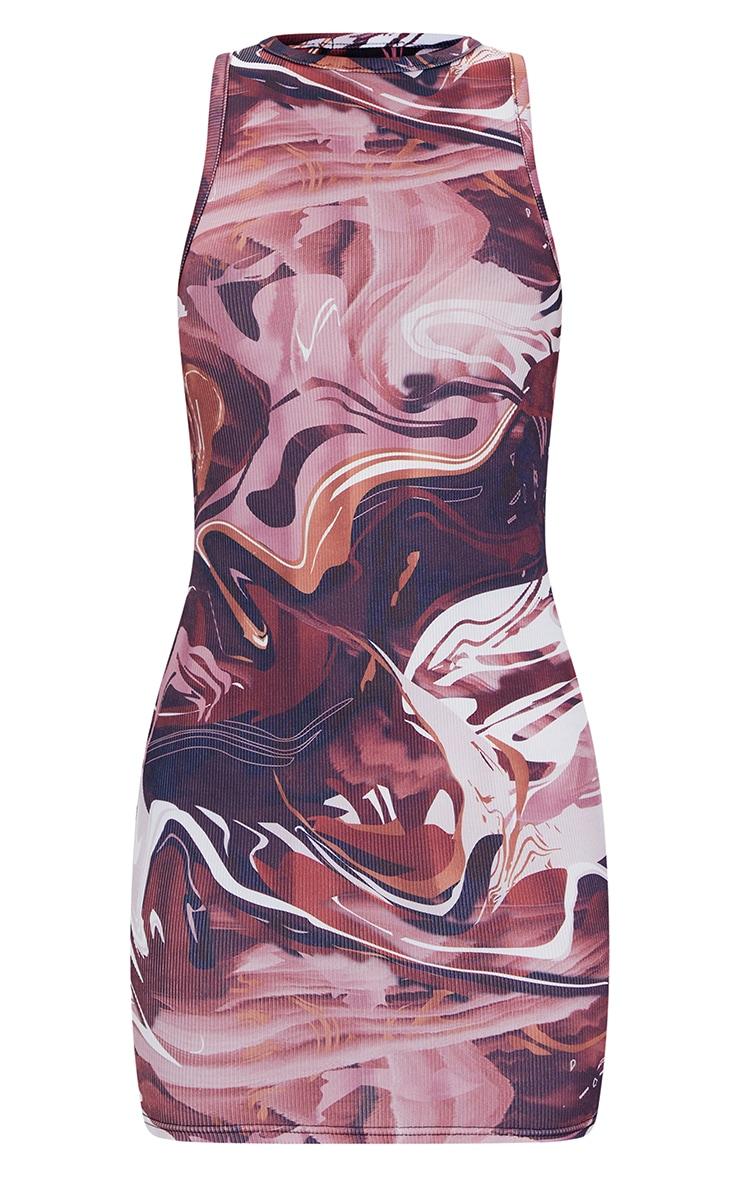 Brown Marble Print Rib Racer Neck Sleeveless Bodycon Dress 5