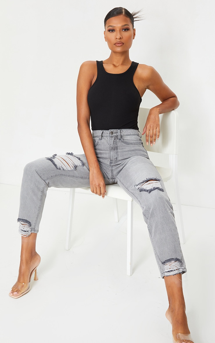 PRETTYLITTLETHING Washed Grey Extreme Distressed Hem Knee Rip Mom Jeans 1