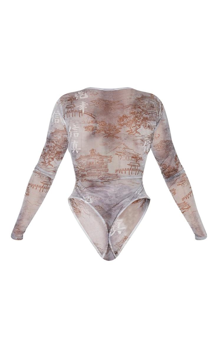 Shape Grey Oriental Printed Mesh Long Sleeved Bodysuit 4