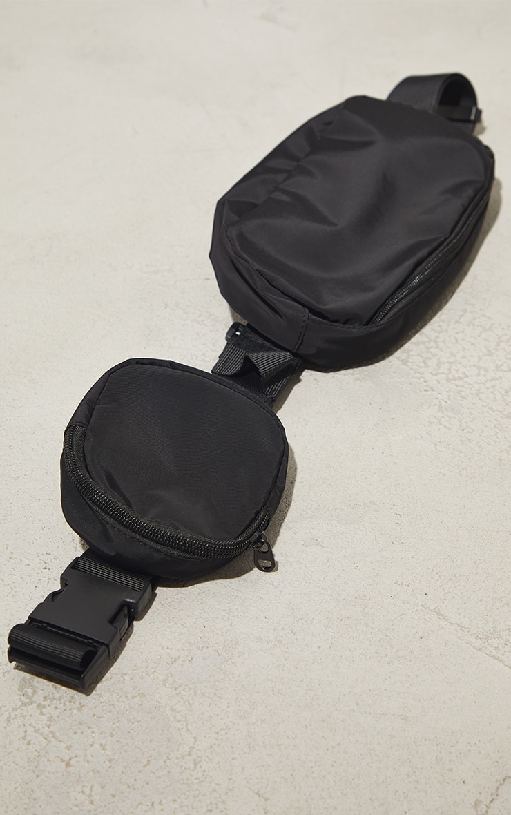 Black Nylon Multi Pocket Cross Body Bag 3