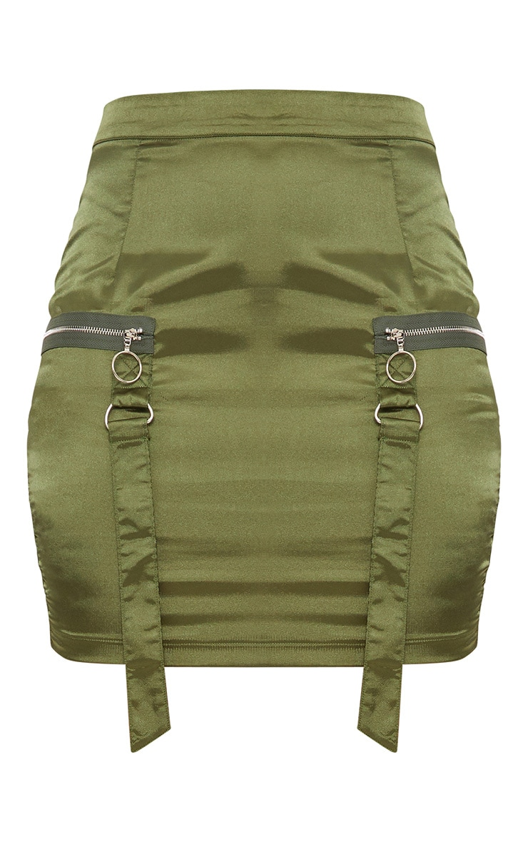 Khaki Satin Pocket Detail Mini Skirt  3