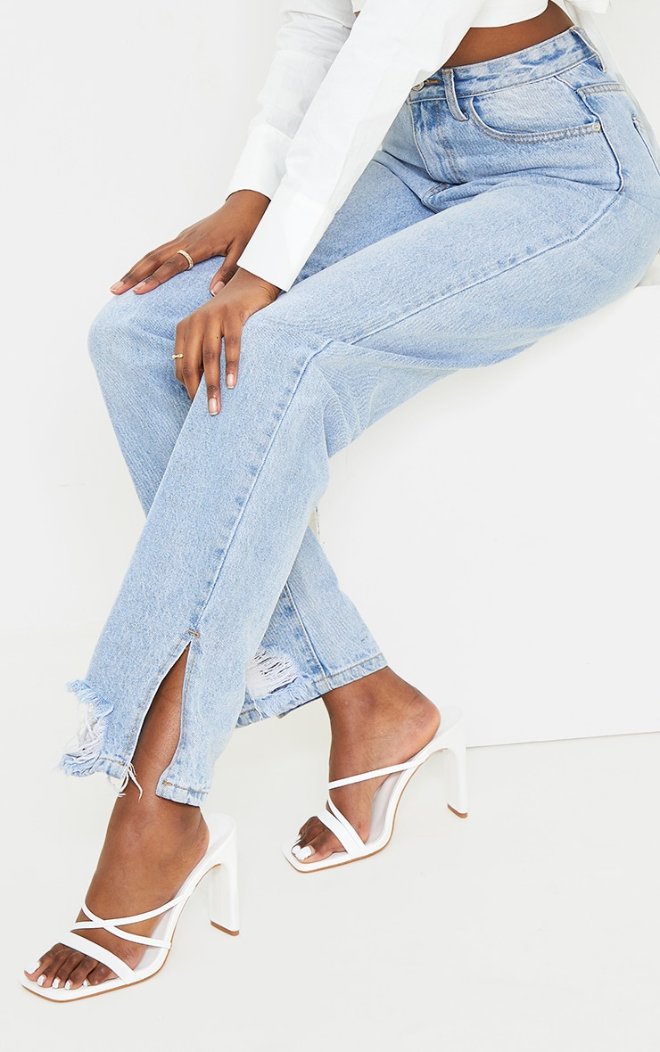 White Wide Fit Asymmetric Strappy High Flat Block Heel Mules 1
