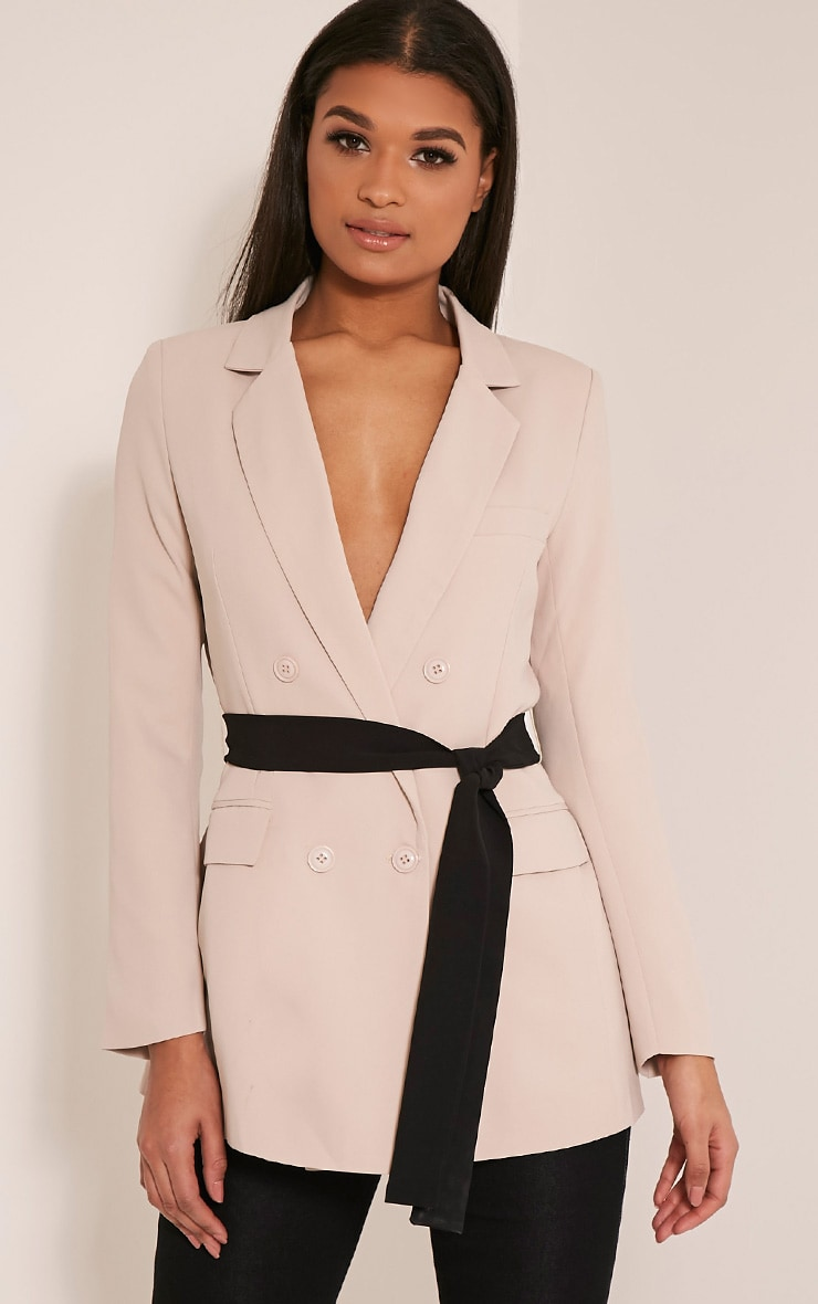 Rebecca Stone Contrast Belted Blazer 1
