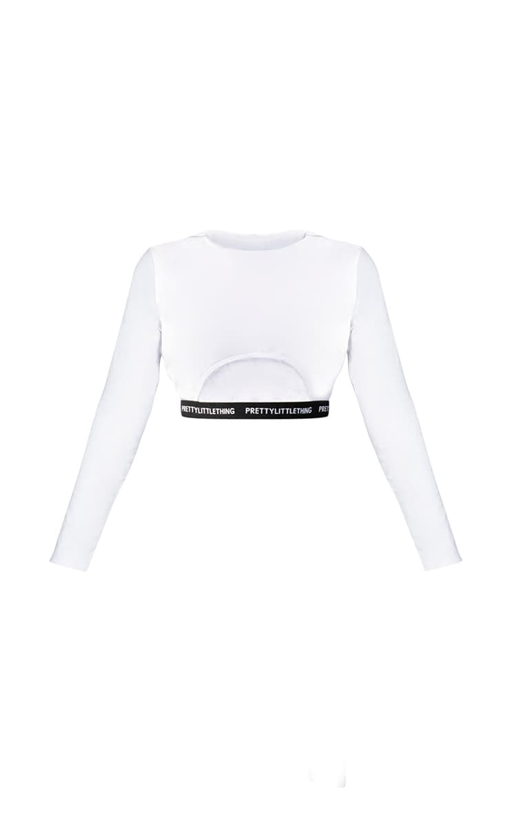 PRETTYLITTLETHING Shape White Long Sleeve Crop Top 5