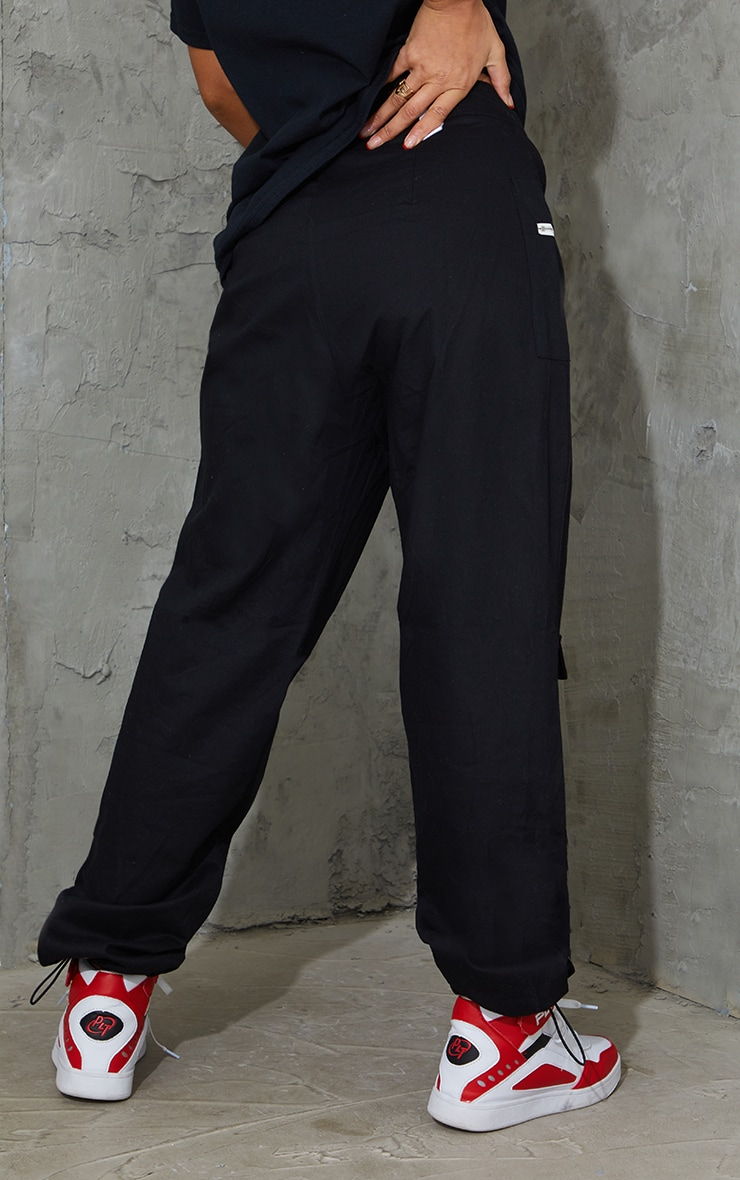 Black Pocket Zip Detail Cargo Pants 3