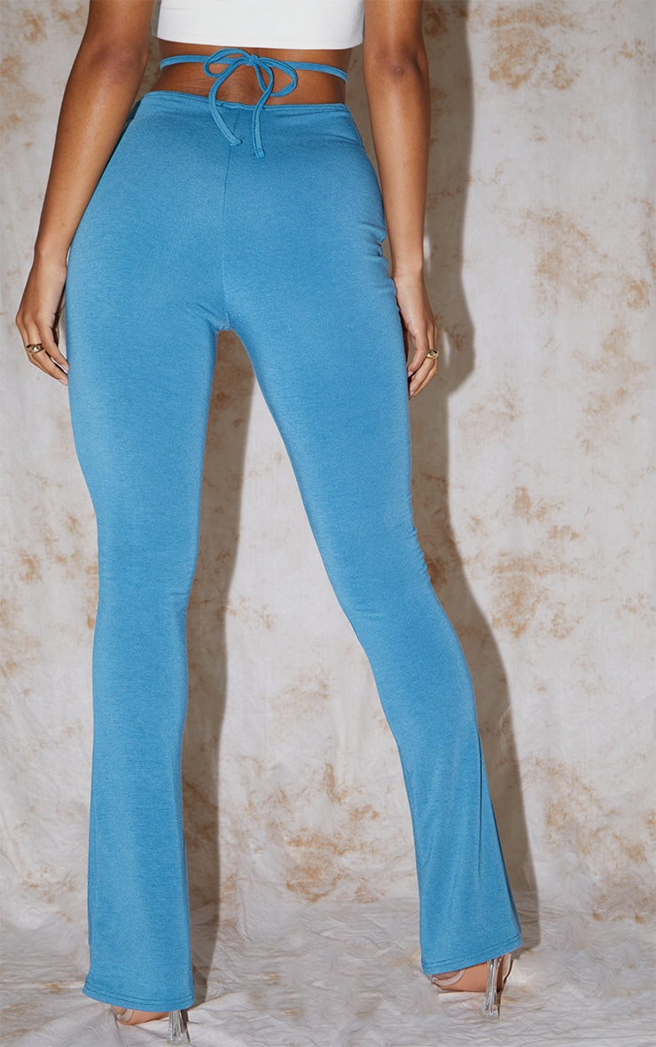 RECYCLED Mineral Blue Contour Jersey Tie Waist Flared Trousers 3