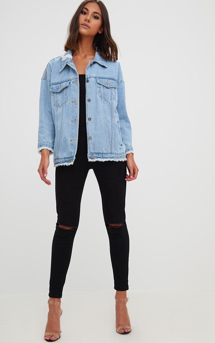 Aymeline Light Wash Distressed Oversized Denim Jacket 4