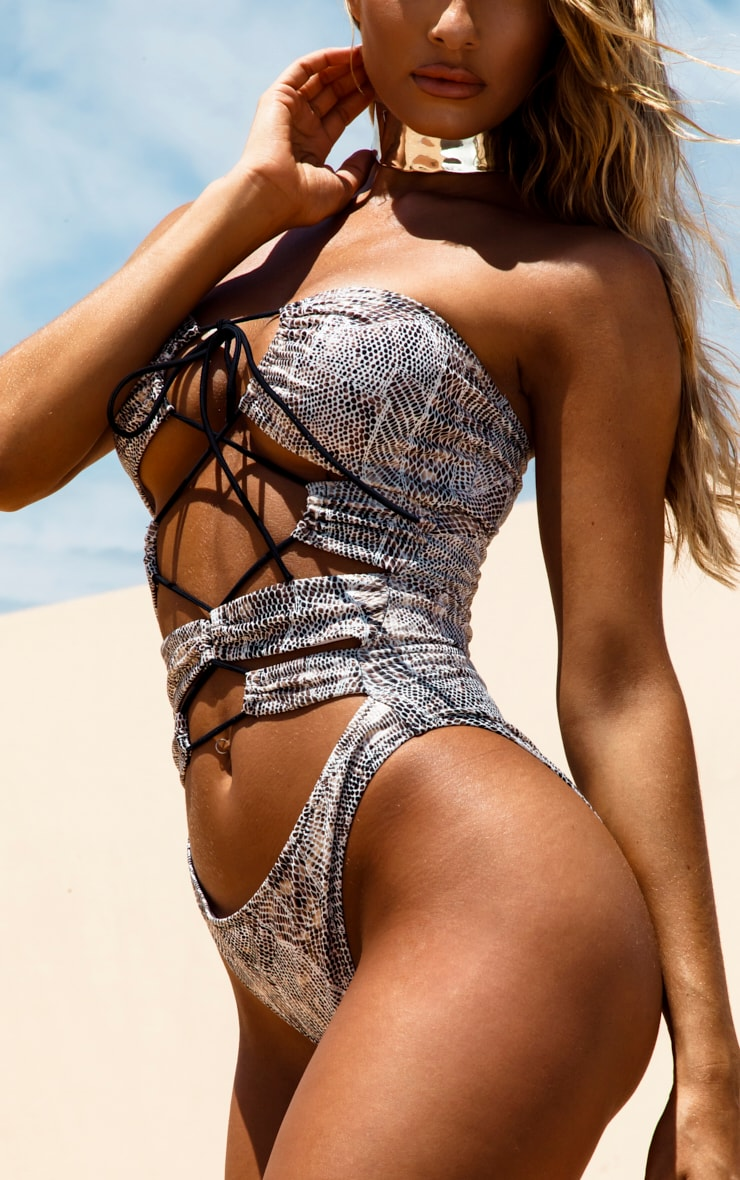 White Lace Up Textured Snake Swimsuit 6