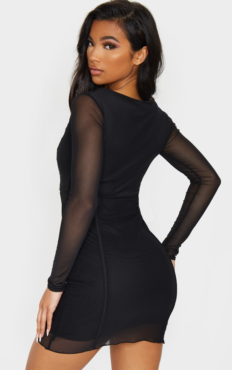 Sheer Mesh Square Neck Binding Detail Bodycon Dress 2