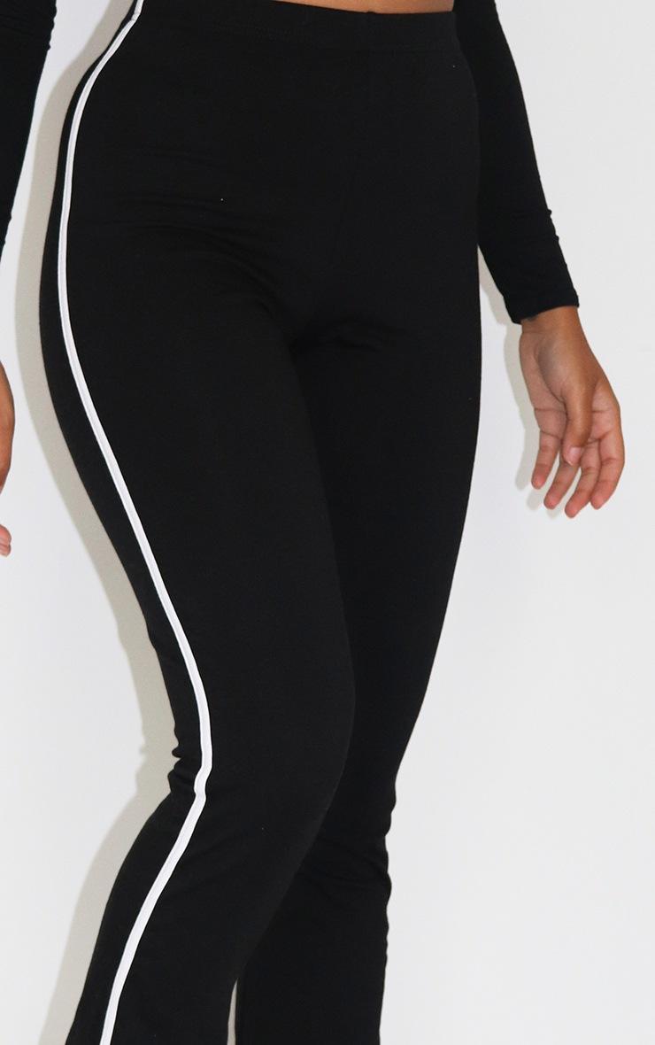 Petite Black Stipe Detail Split Hem Trousers 4