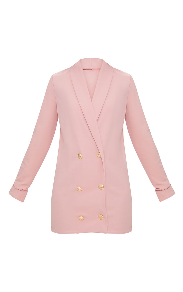 Petite Dusky Pink Gold Button Blazer Dress 4
