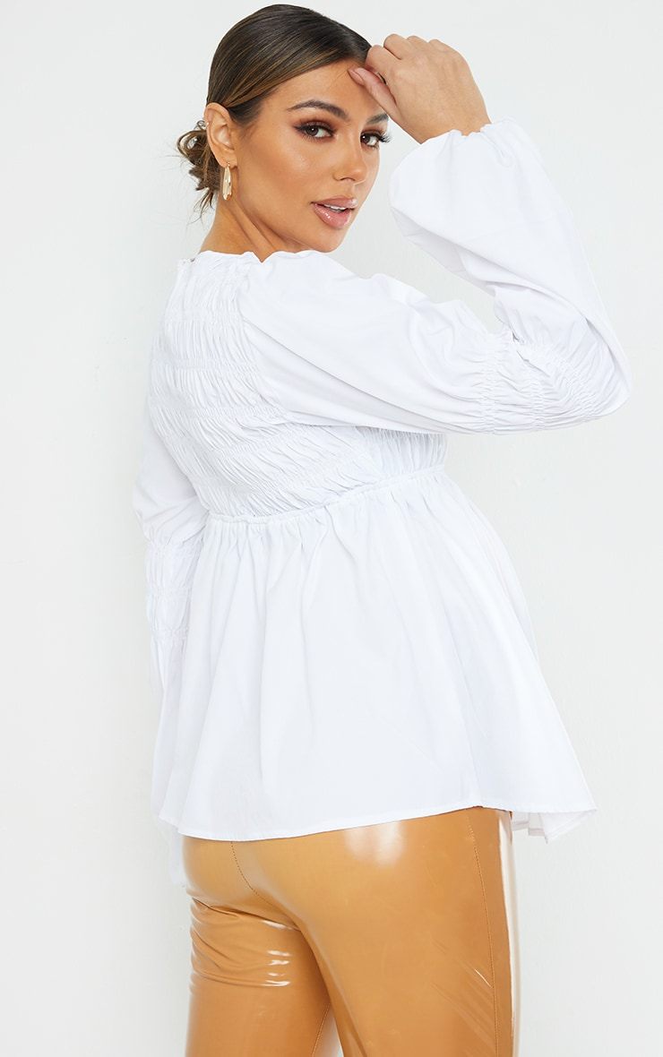 Maternity White Shirred Detail Blouse 2