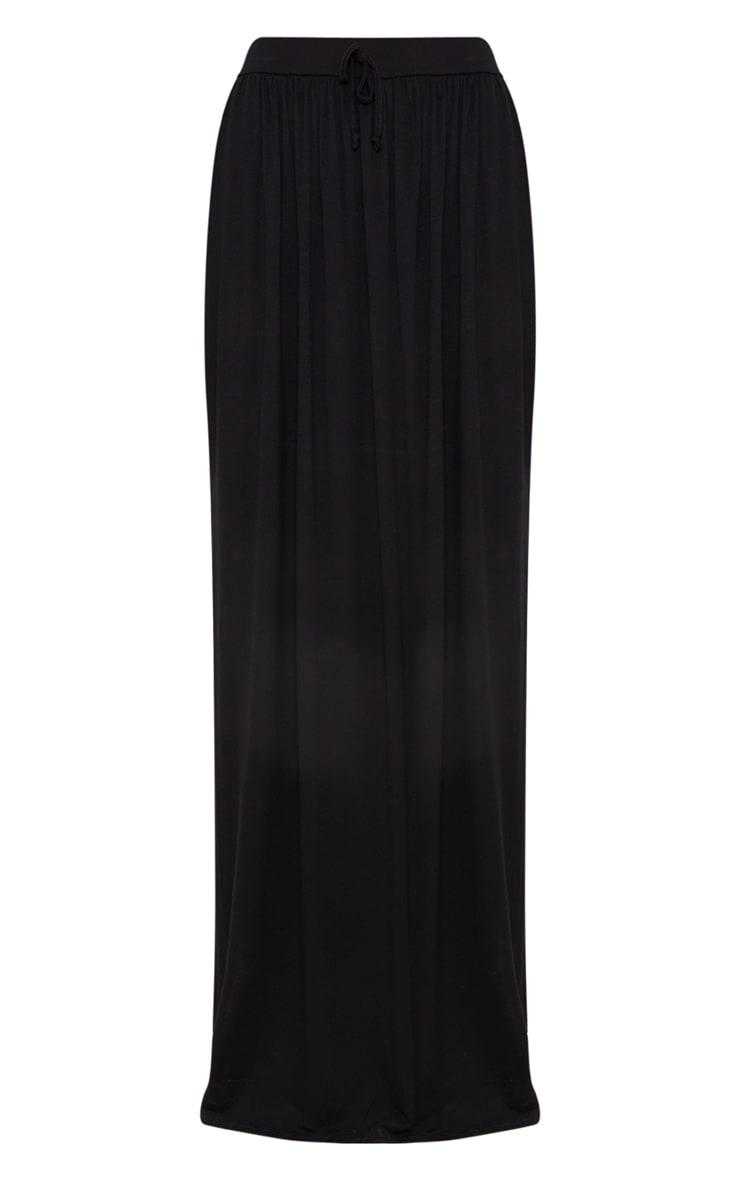 Black Jersey Drawstring Maxi Skirt 3