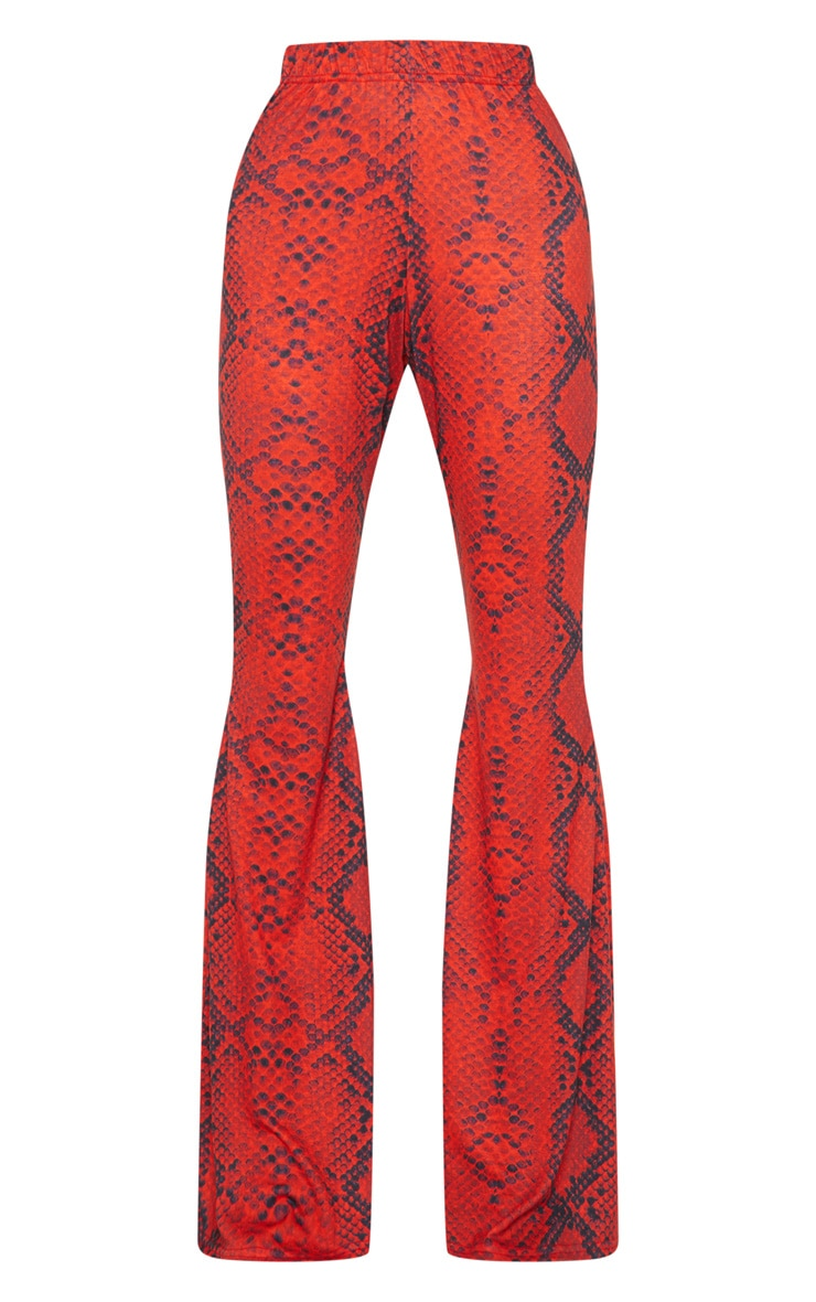 Red Jersey Snakeskin Flared Trouser 3