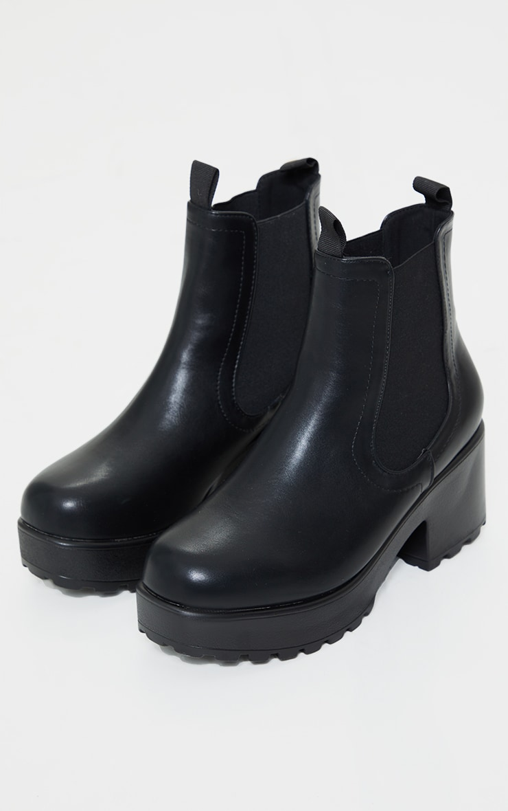 Black Matte Chunky Sole Chelsea Ankle Boot