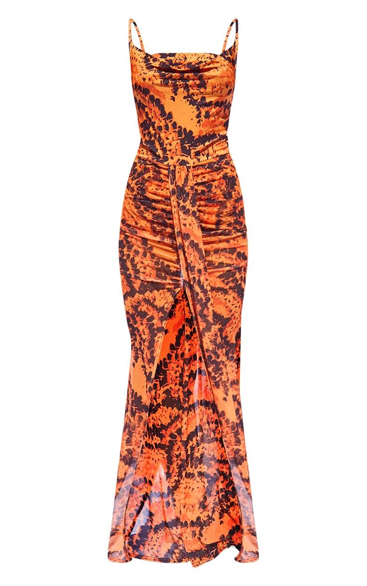 Orange Feather Print Mesh Drape Detail Split Maxi Dress 5