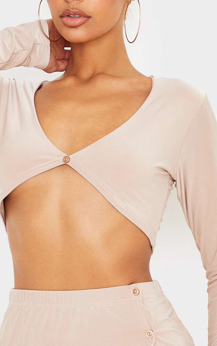 Stone Slinky Button Front Long Sleeve Crop Top 4