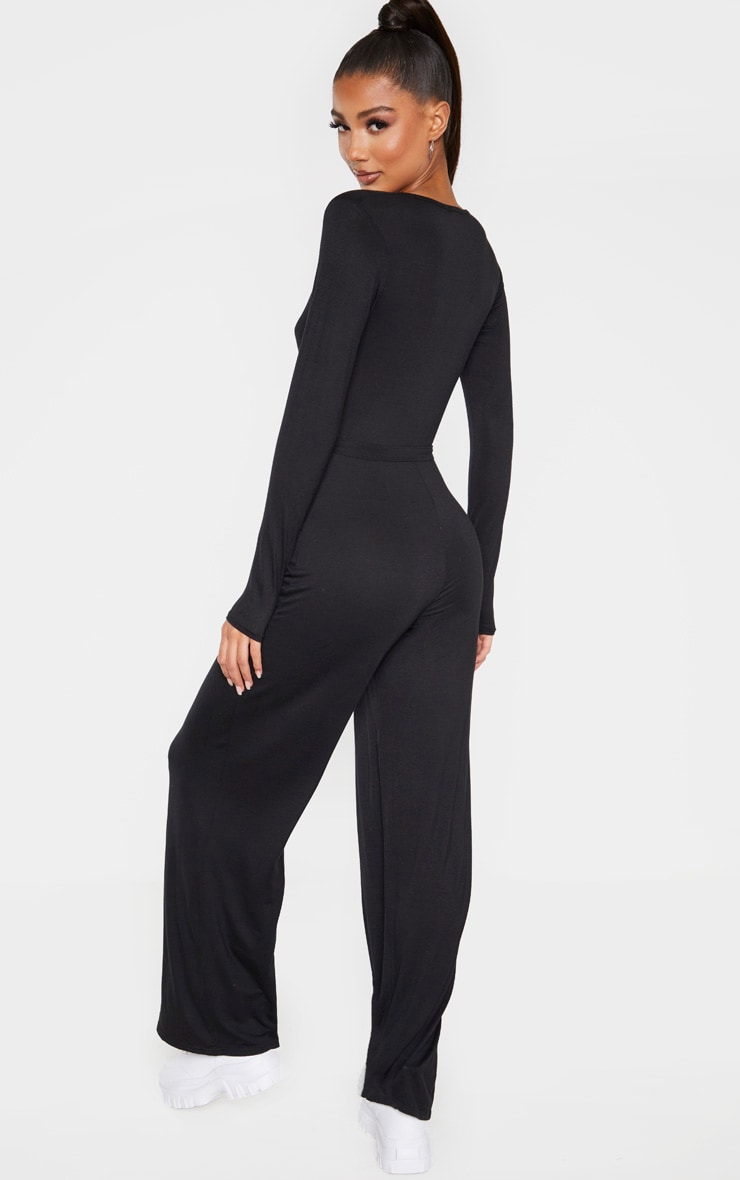 Black Tie Waist Long Sleeve Jumpsuit 2