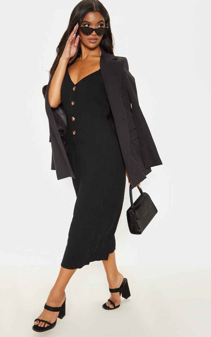 Black Woven Button Front Culotte Jumpsuit 4