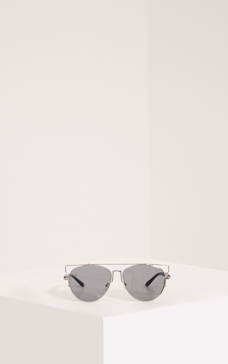 Jay Silver Mirrored Cut Out Frame Aviator Sunglasses 3