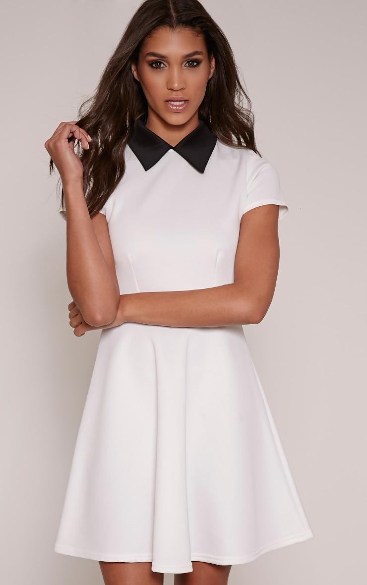 Melanie Cream Collar Detail Skater Dress 1