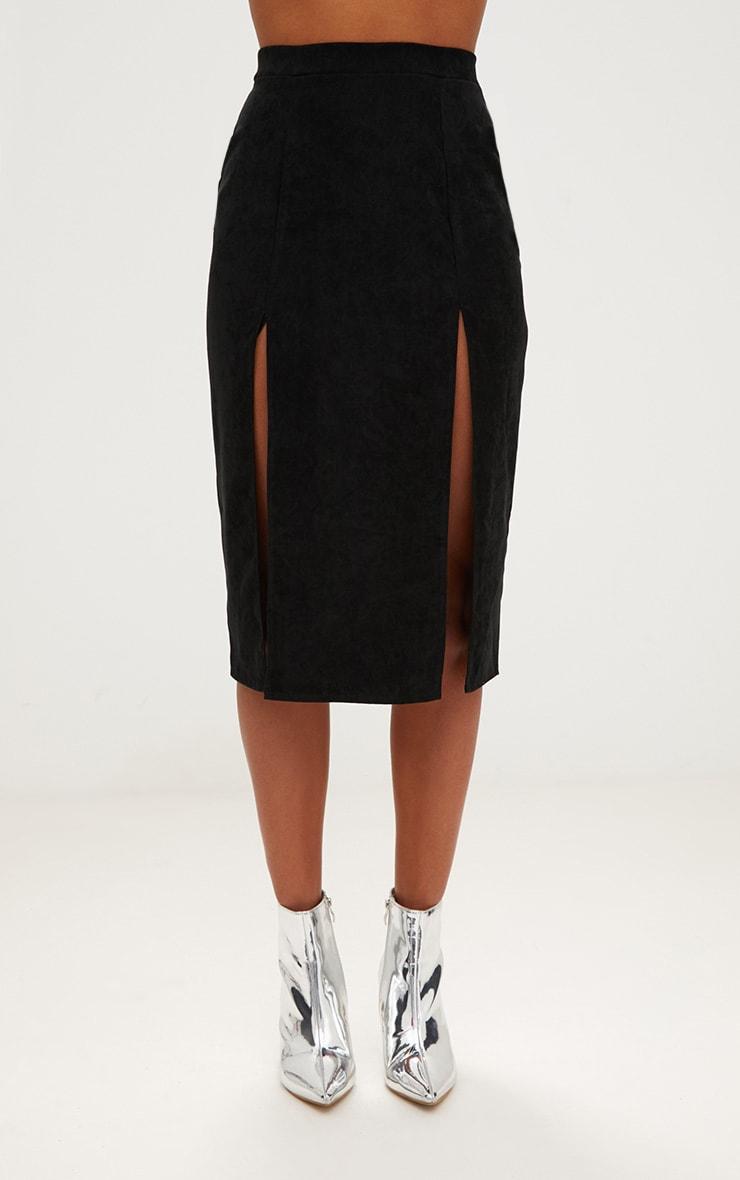 Black Faux Suede Double Split Midi Skirt  2