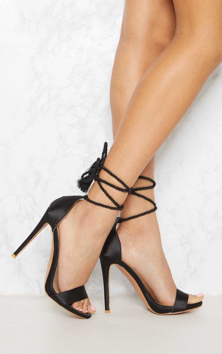 Black Heeled Rope Tie Strappy Sandal