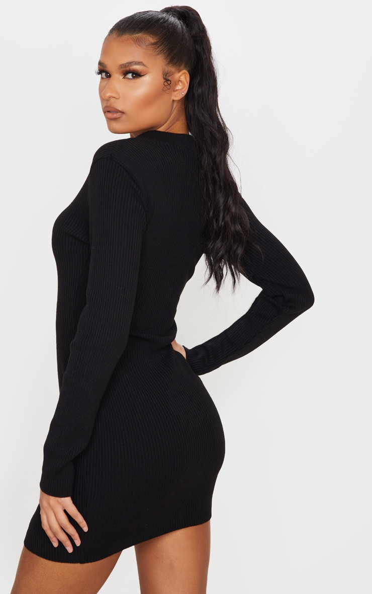 Black Double Ended Zip Knitted Dress 2