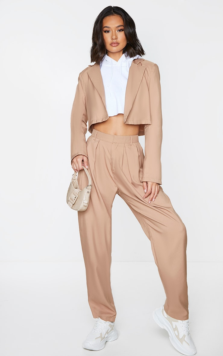 Sand Button Front Cropped Blazer 3