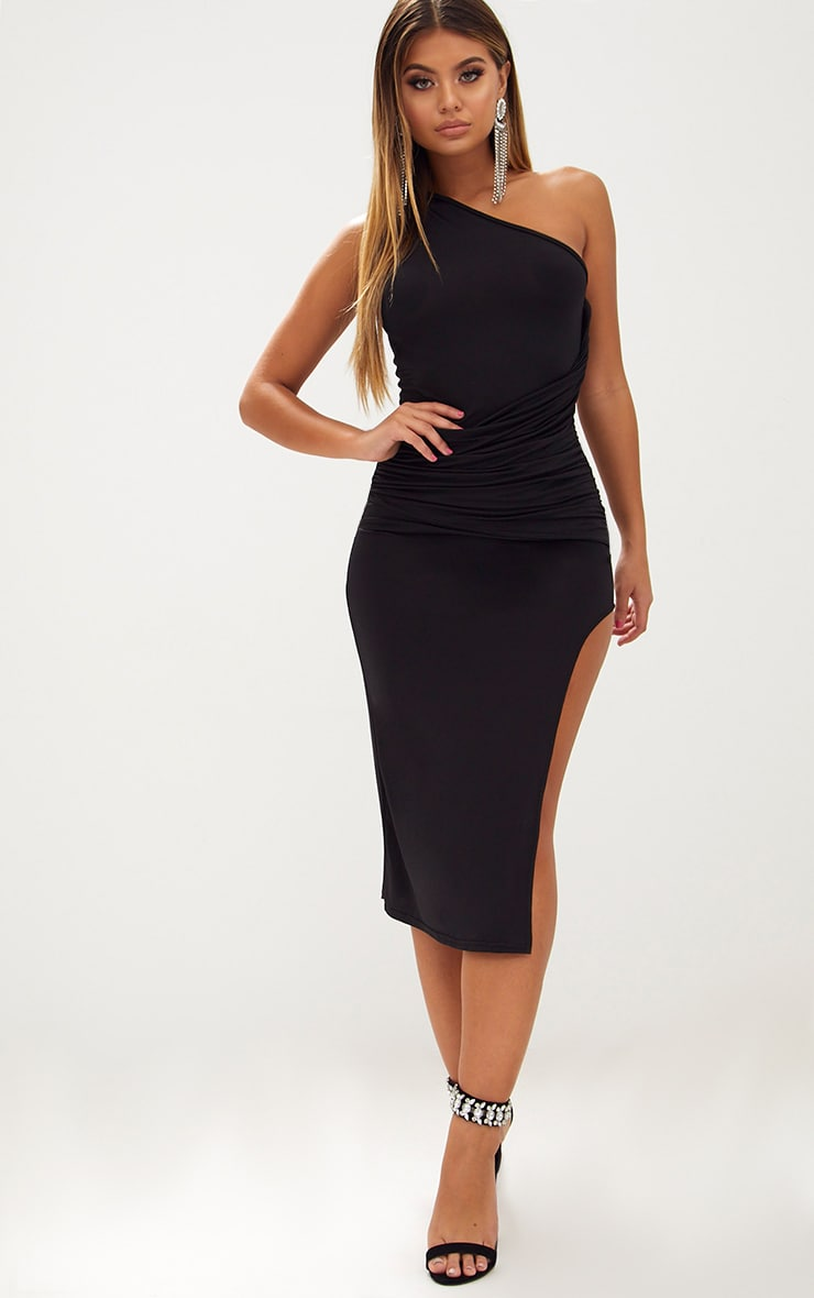 86fee26950eb Black One Shoulder Ruched Detail Slinky Midi Dress image 1